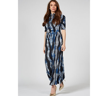 Jolie Moi Chloe High Neck Tie Front Maxi Dress