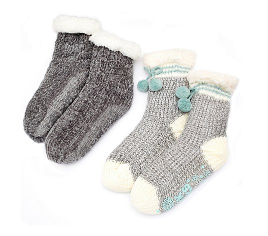 Muk Luks 2 Pair Stripe Sock And Chenille Slipper Sock
