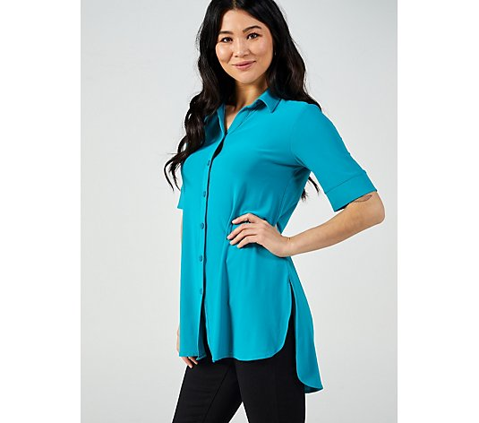 Elbow Sleeve Placket Front Shirt Tunic with Tab Back Detailing by Nina Leonard