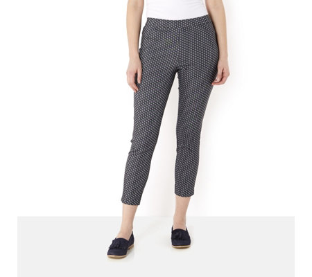 Jacquard Print Slim Leg Ankle Length Trousers by Susan Graver