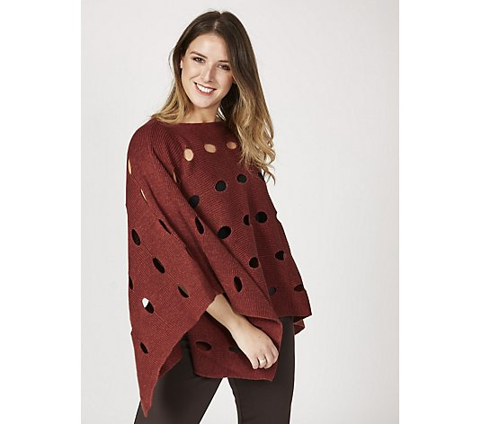 MarlaWynne Open Stitch Sweater Knit Poncho