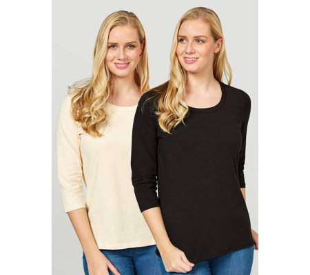 Denim & Co. Essentials Perfect Jersey Set of Two 3/4 Sleeve Tops