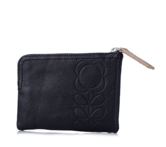 Orla Kiely Flower Stem Embossed Leather Medium Flat Zip Wallet - 171379