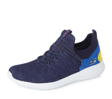 Skechers Ultra Flex More Tranquility Knit Sock Collar Heel Slip on Trainer