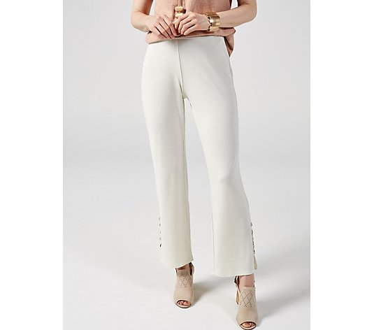 MarlaWynne Luxe Crepe Seamed Detail Wide Leg Trousers