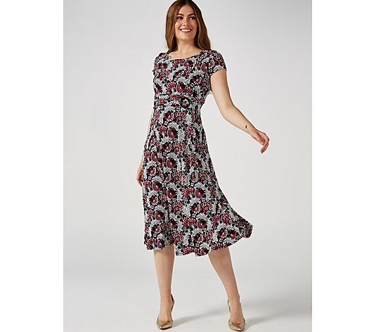 Perceptions Puff Print Dress with Ring and Tie Detail