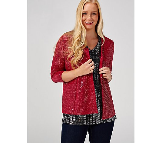 Foil Sequin Edge To Edge Jacket by Michele Hope