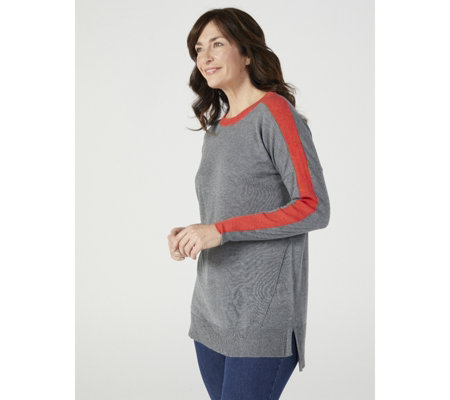Ruth Langsford Jumper with Contrast Rib Sleeve Stripe
