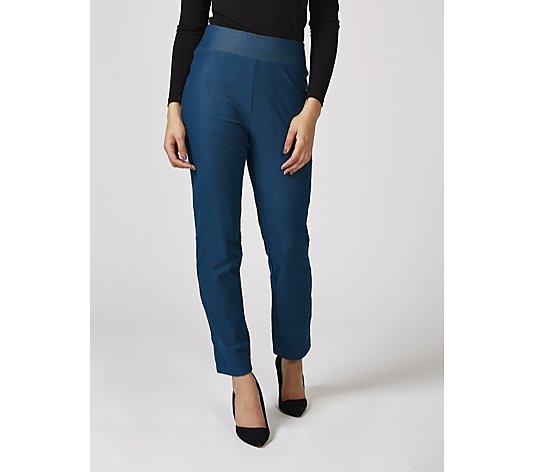 Kim & Co Deluxe Denim Knit Wide Waistband Narrow Leg Petite Trousers