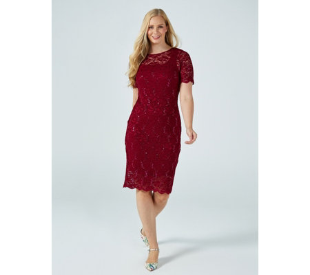 Outlet Kim & Co Magical Sequined Lace Lined Short Sleeve Scallop Hem Dress