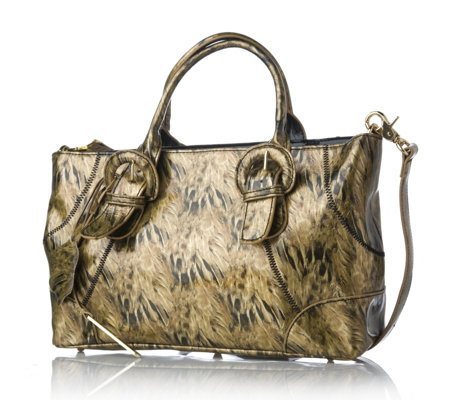 Charlie Lapson Faux Croco Buckle Detail Tote Bag