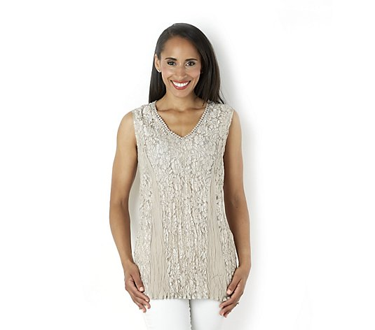 Outlet Together Sleeveless Lace Top with Crochet Detail