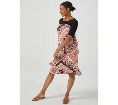 Trapeze Printed Dress by Nina Leonard