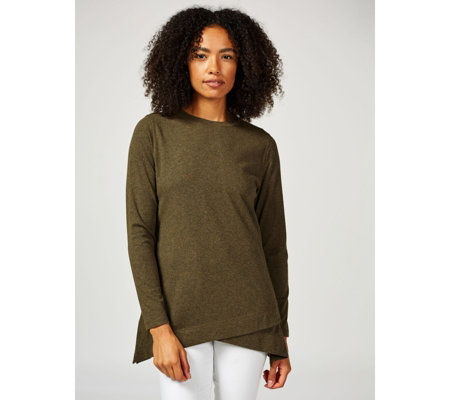 Isaac Mizrahi Live Soho Long Sleeve Crew Neck Tulip Hem Top