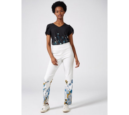 Mr Max Border Print Modern Stretch Trouser
