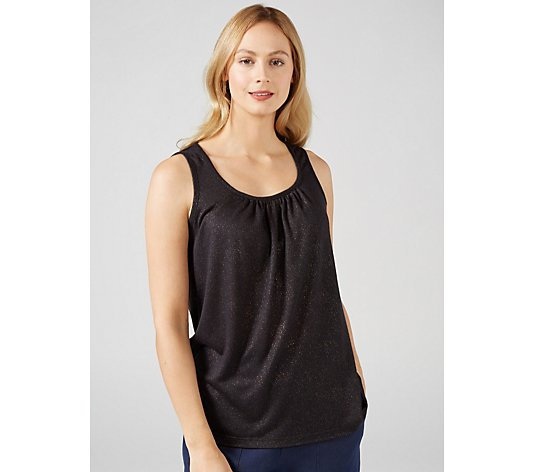 Kim & Co Silky Linen Look Knit Sleeveless Top with Ruching