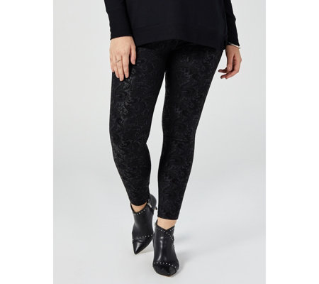Women With Control Pull On Ponte Royale Embossed Scroll Leggings