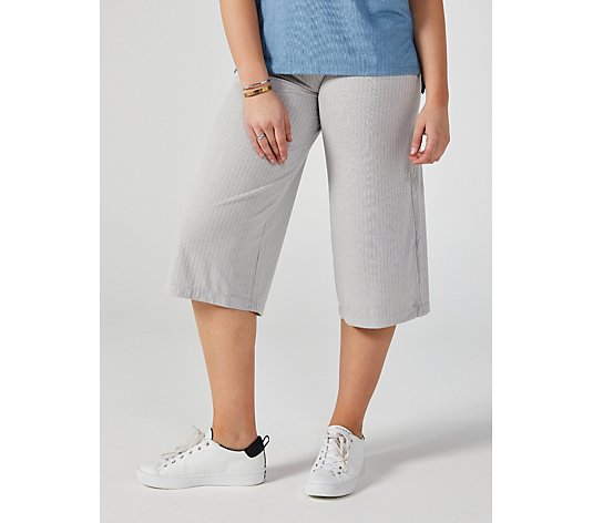 Cuddl Duds Wide Rib Cropped Trouser