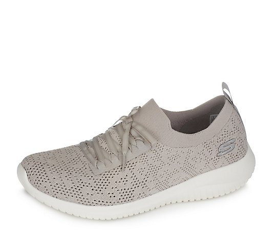 Outlet Skechers Ultra Flex Deco Stretch Flat Knit Lace Slip On Trainer