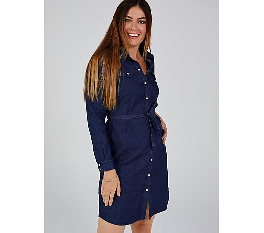 Long Sleeve Stretch Denim Shirt Dress Chest Pockets by Nina Leonard
