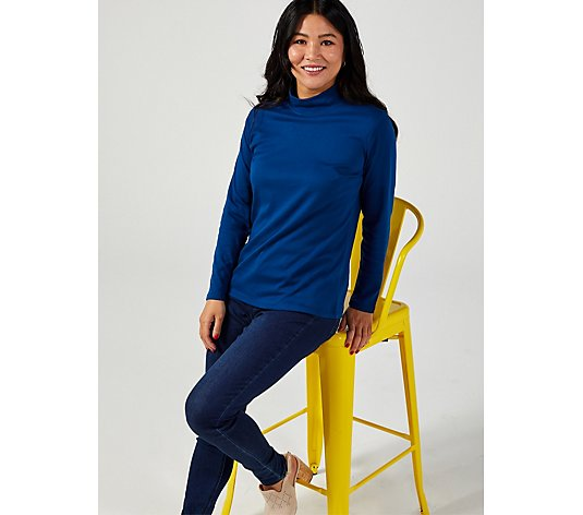 Denim & Co Mock Neck Long Sleeve Top