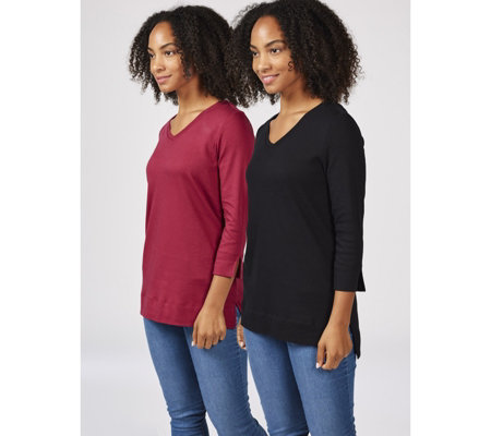 Isaac Mizrahi Live Pack of 2 3/4 Sleeve V Neck Tunics