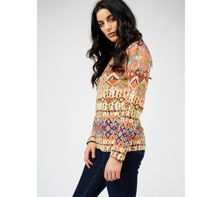 Artscapes Ikat Long Sleeve Crew Neck Top