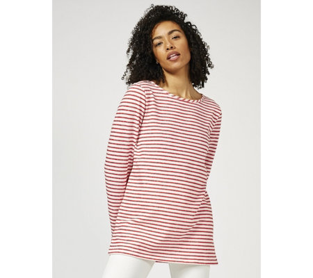 Kim & Co French Terry Stripe Long Sleeved Tunic with Side Slits