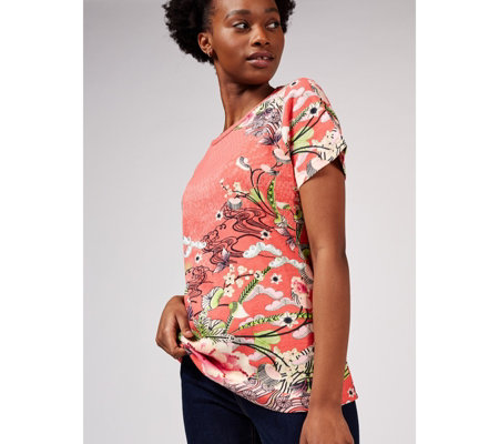 Artscapes Kyoto Print Short Sleeve Crew Neck Top