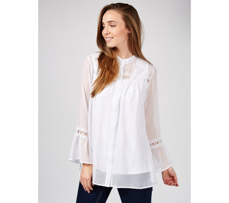 Antthony Designs Chiffon Shirt with Knit Cami