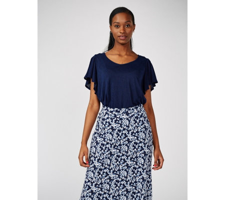 Kim & Co Silky Linen Look  Frilled Sleeve Top