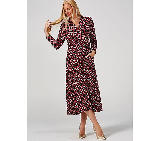J by Jolie Moi Long Sleeve Printed Maxi Dress