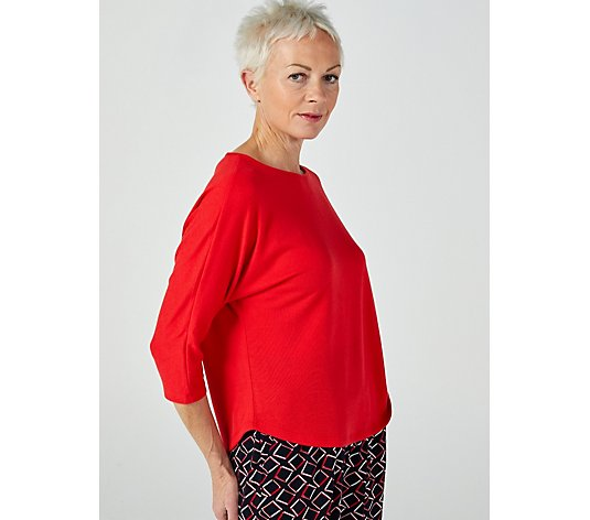 Kim & Co Soft Touch 3/4 Dolman Sleeve Relaxed High-Low Top
