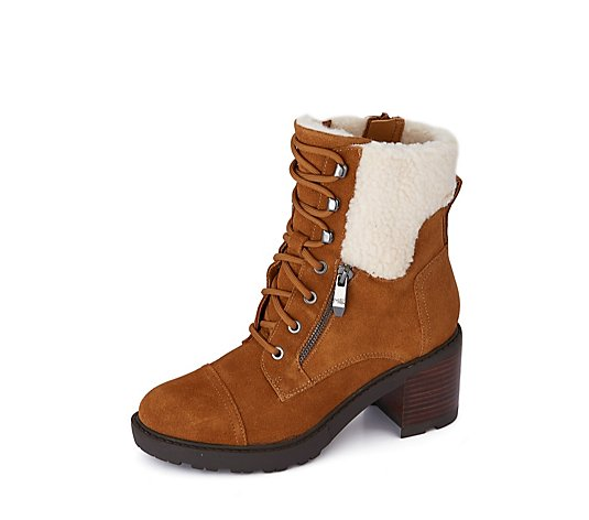 Outlet Marc Fisher Lansly Heeled Boot w/ Faux Fur Trim