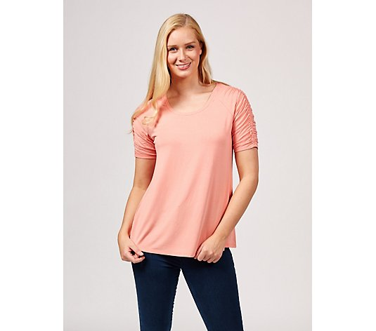 H by Halston Scoop Neck Top with Ruching Elbow Sleeve Detail