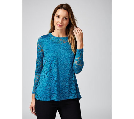 Isaac Mizrahi Live Stretch Lace Tunic with Pleated Back