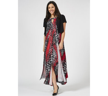 Antthony Designs Printed Halter Neck Dress with Solid Bolero