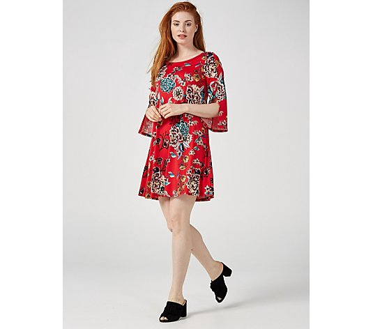 Coco Bianco Split Sleeve Printed Dress
