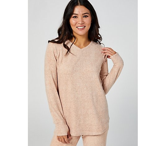 Cuddl Duds Fleecewear V Neck Long Sleeve Top