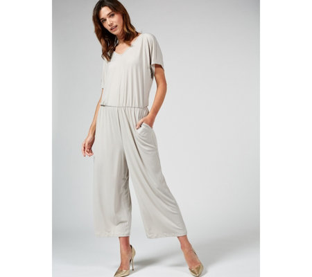 Outlet Kim & Co Brazil Jersey Gaucho Jumpsuit w/ Pockets Regular