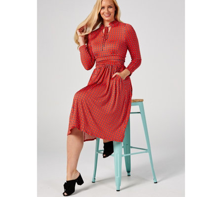 J by Jolie Moi Long Sleeve Midi Dress With Neck Tie Detail