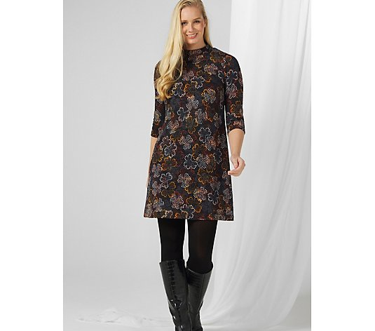 Perceptions Printed 3/4 Sleeve Mock Neck Dress