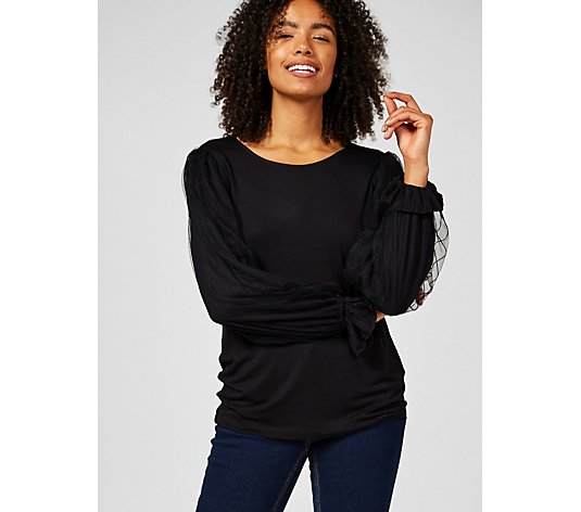 Du Jour Mock Neck Knit Top with Mesh Sleeves