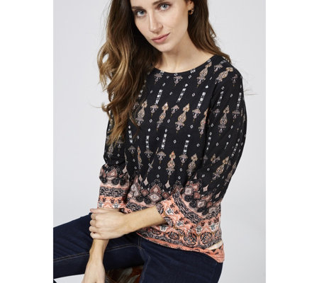 Artscapes Royal Paisley 3/4 Sleeve Crew Neck Top