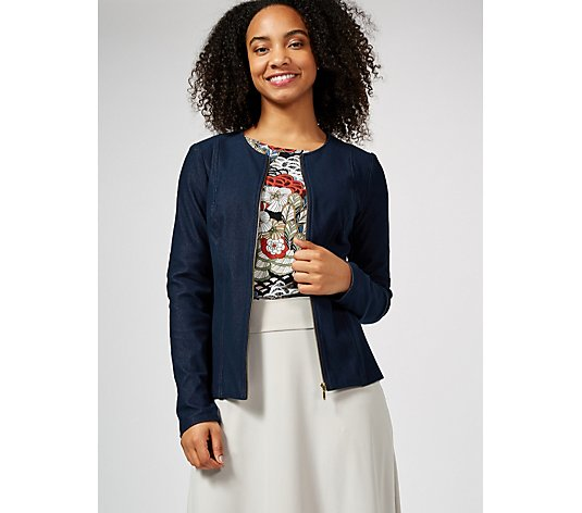 Kim & Co Deluxe Denim Knit Zip Front Jacket