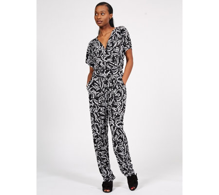 Kim & Co Brazil Jersey Falling Sleeve Jumpsuit with Pockets