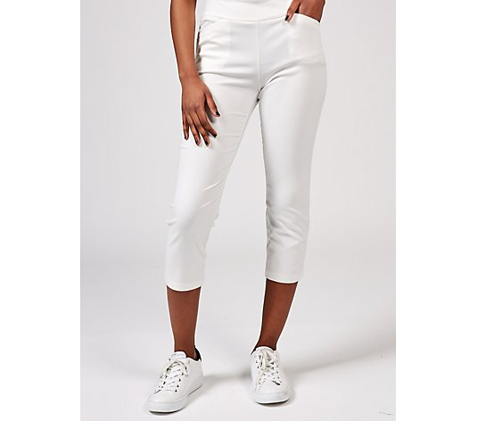 Straight Leg Pull On Crop Trousers Petite by Nina Leonard