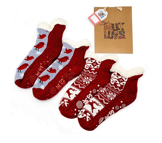 Muk Luks 2 Pack Slipper Bootie Socks With Gift Bag