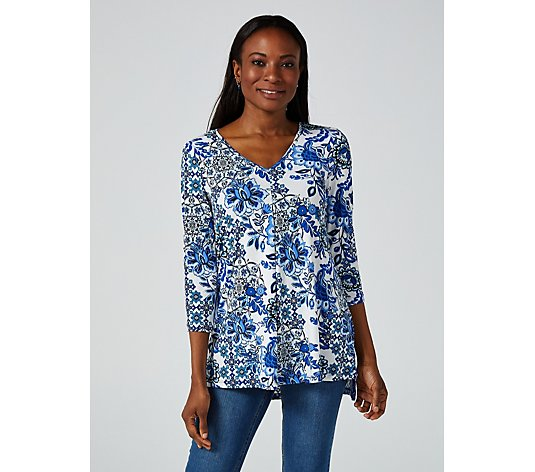 Pleat Front High Low Hem Printed V Neck Tunic by Nina Leonard