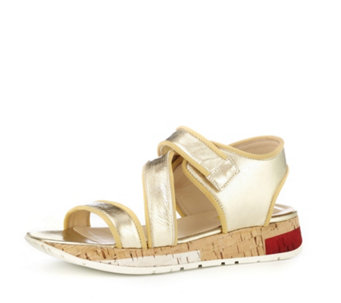 Manas Metallic Leather Adjustable Strap Sandal - 164584